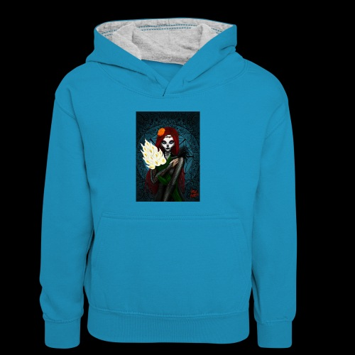 Death and lillies - Kids' Contrast Hoodie