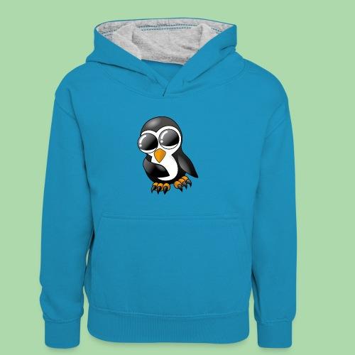 Pengu der keine Pinguin - Kinder Kontrast-Hoodie