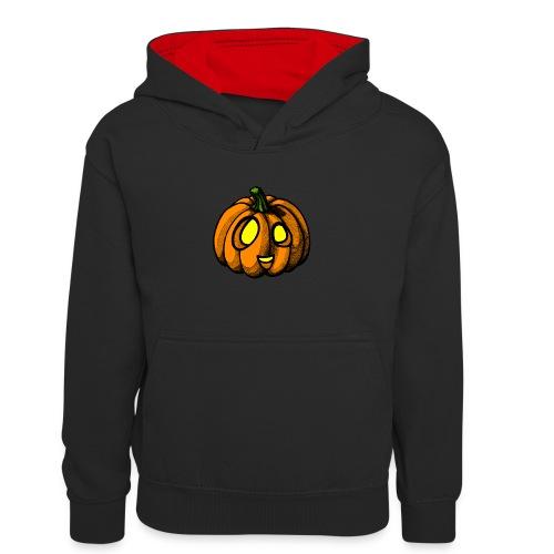 Pumpkin Halloween scribblesirii - Lasten kontrastivärinen huppari