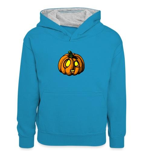 Pumpkin Halloween scribblesirii - Kinder Kontrast-Hoodie