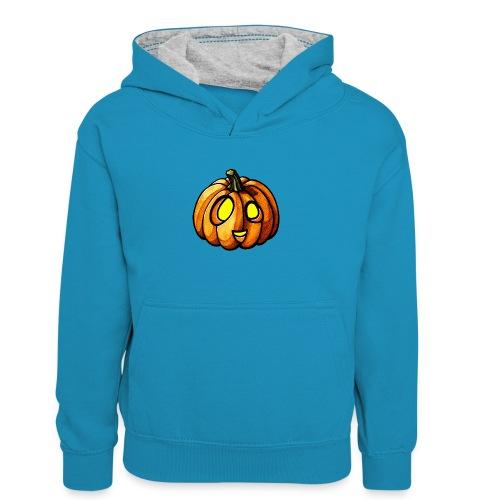 Pumpkin Halloween watercolor scribblesirii - Kinder Kontrast-Hoodie