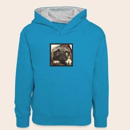 Mops Hund 1 - Kinder Kontrast-Hoodie