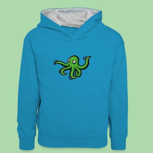 Alien Oktopus - Kinder Kontrast-Hoodie