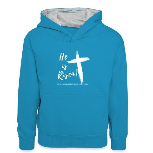 He is Risen ! V2 (Il est ressuscité !) - Sweat à capuche contrasté Enfant