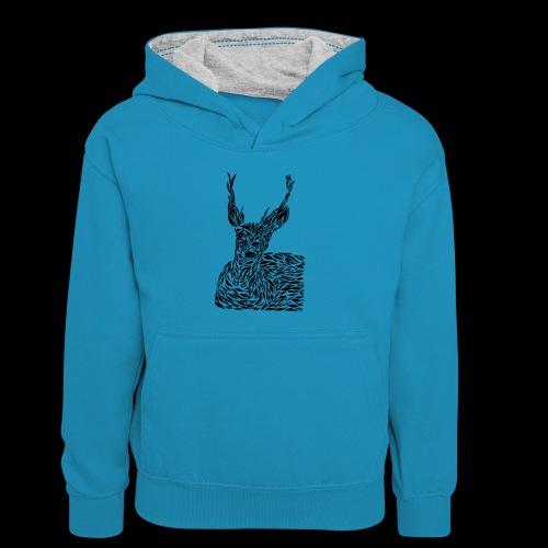 deer black and white - Lasten kontrastivärinen huppari
