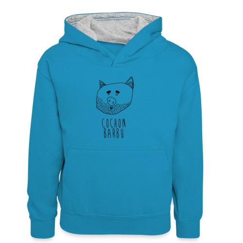 Cochon barbu - Sweat à capuche contrasté Enfant