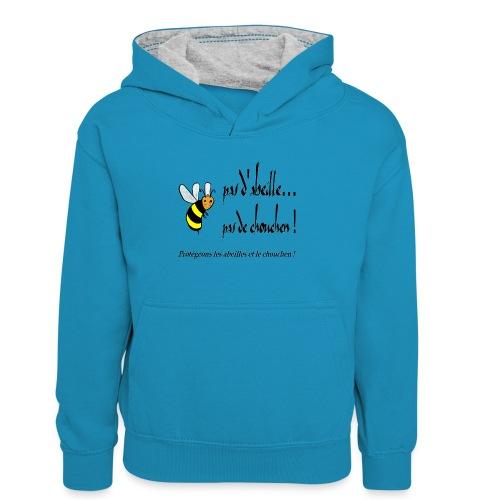 Pas d'abeille, pas de chouchen - Sweat à capuche contrasté Enfant