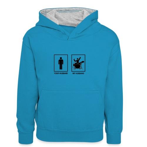 MY HUSBAND DRUMMER - Teenager contrast-hoodie/kinderen contrast-hoodie