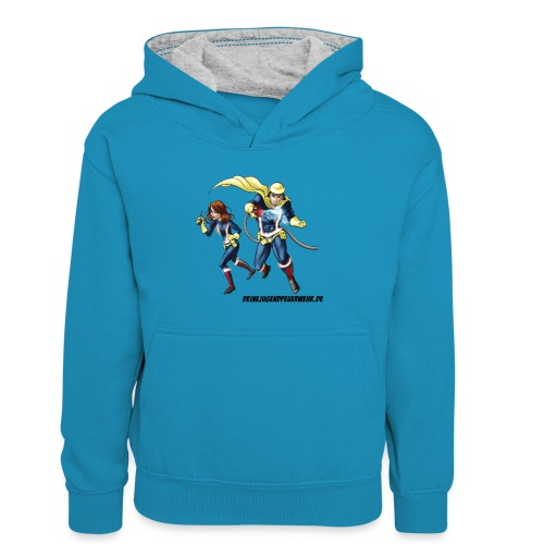 1+1=2Eine gute Connection - Kinder Kontrast-Hoodie