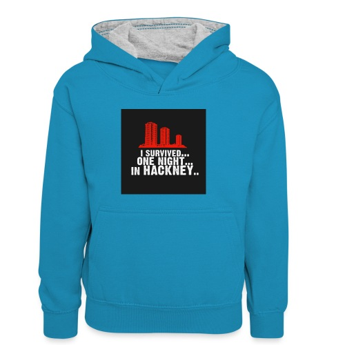i survived one night in hackney badge - Kids' Contrast Hoodie