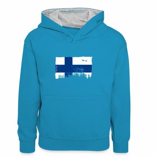 Suomen lippu, Finnish flag T-shirts 151 Products - Lasten kontrastivärinen huppari