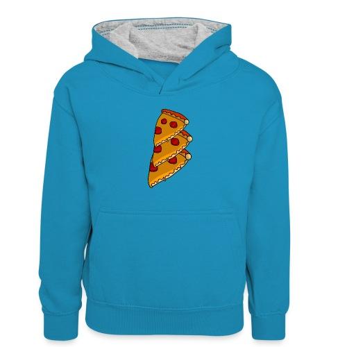 pizza - Kontrasthoodie børn