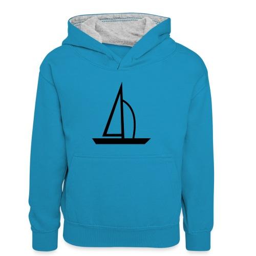 Segelboot - Kinder Kontrast-Hoodie
