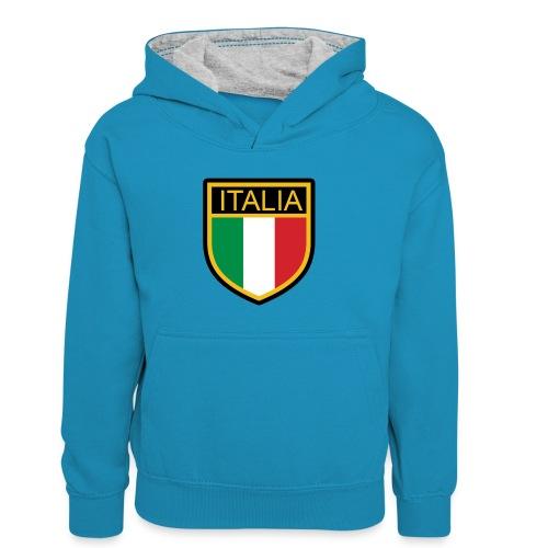 SCUDETTO ITALIA CALCIO - Felpa con cappuccio in contrasto cromatico per bambini