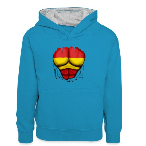 España Flag Ripped Muscles six pack chest t-shirt - Kids' Contrast Hoodie