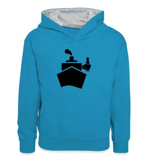 King of the boat - Kinder Kontrast-Hoodie