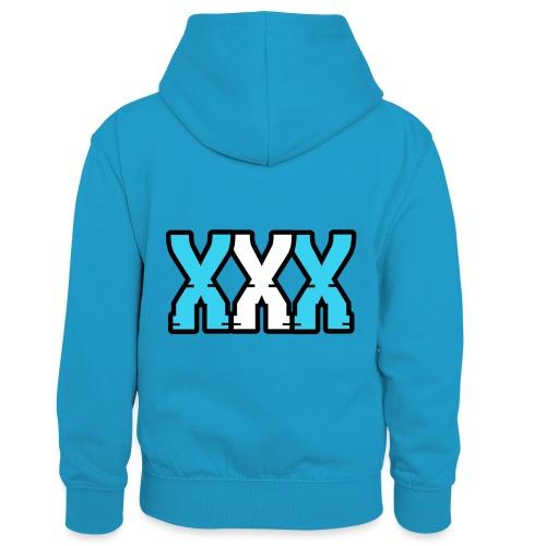 XXX (Blue + White) - Kids' Contrast Hoodie