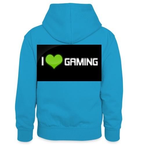 I Love Gaming Shadow Gamer - Kinder Kontrast-Hoodie
