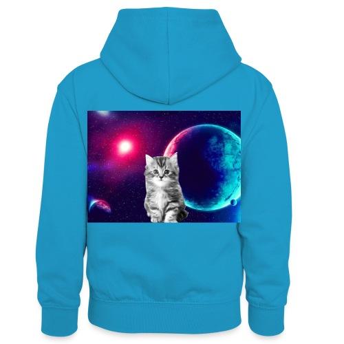 Cute cat in space - Lasten kontrastivärinen huppari