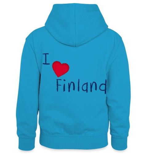I Love Finland - Lasten kontrastivärinen huppari