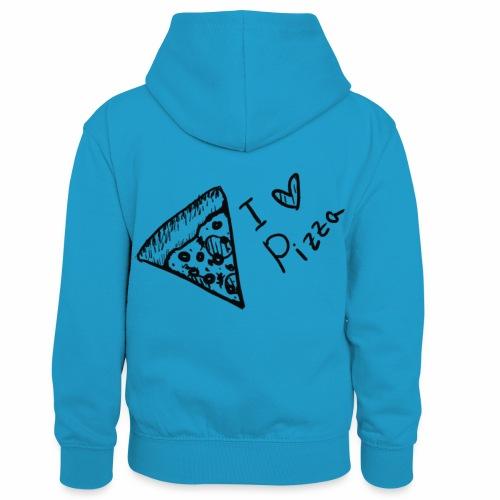 I LOVE PIZZA - Kinder Kontrast-Hoodie