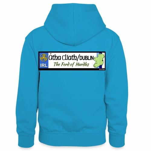 CO. DUBLIN, IRELAND: licence plate tag style decal - Kids' Contrast Hoodie