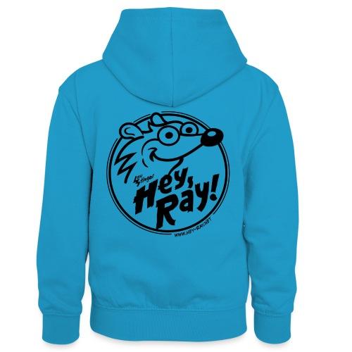 Hey Ray Logo black - Kinder Kontrast-Hoodie