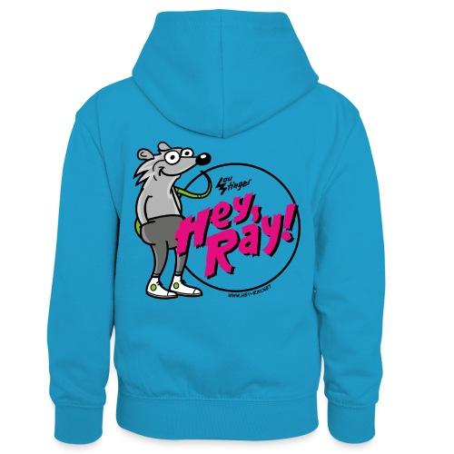 Hey Ray! Logo magenta - Kinder Kontrast-Hoodie