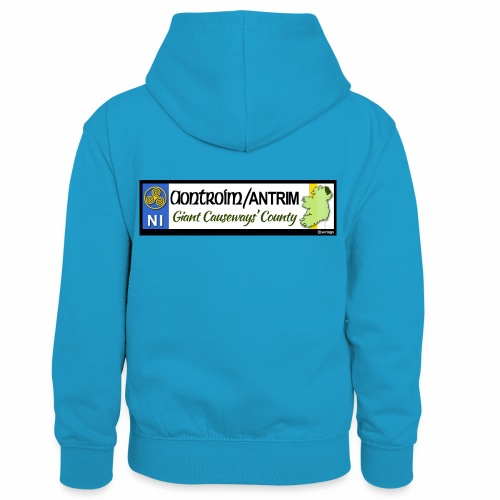 CO. ANTRIM, NORTHERN IRELAND licence plate tags - Kids' Contrast Hoodie