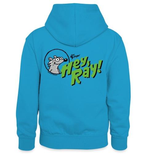Hey Ray Logo green - Kinder Kontrast-Hoodie