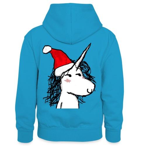 Unicorno di Natale - Felpa con cappuccio in contrasto cromatico per bambini