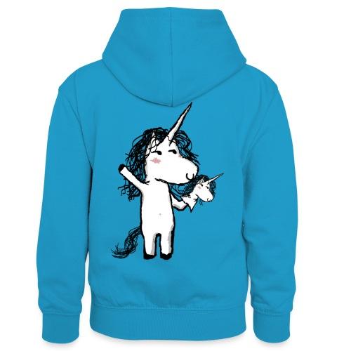 Unicorno con il suo felice amico - Felpa con cappuccio in contrasto cromatico per bambini