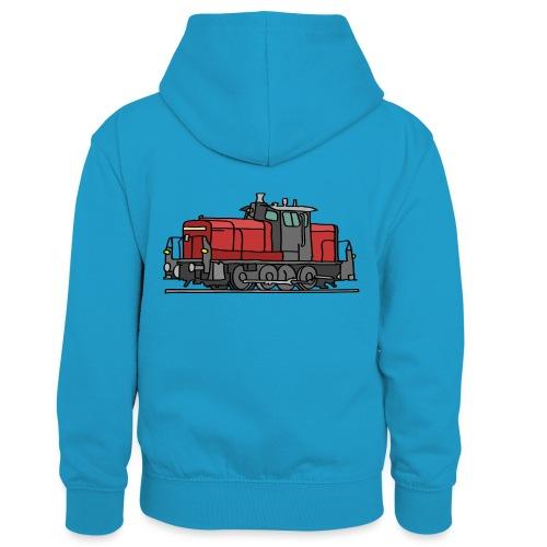 Diesellokomotive - Kinder Kontrast-Hoodie
