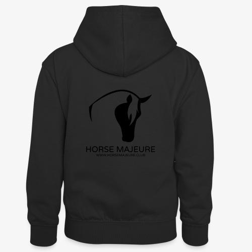 Horse Majeure Logo / Musta - Lasten kontrastivärinen huppari