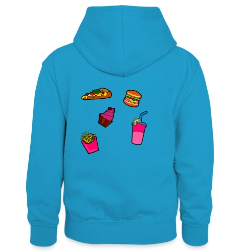 Fast Food Design - Kinder Kontrast-Hoodie