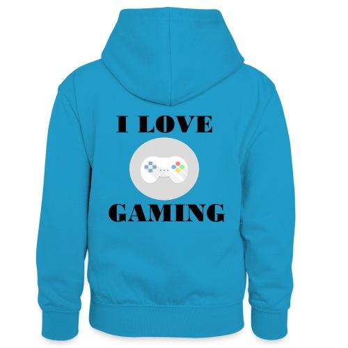 I love Gaming Design - Kinder Kontrast-Hoodie