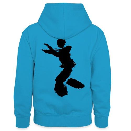 Wing Chun / Kung Fu Tusche Figur VEKTOR - Kids' Contrast Hoodie