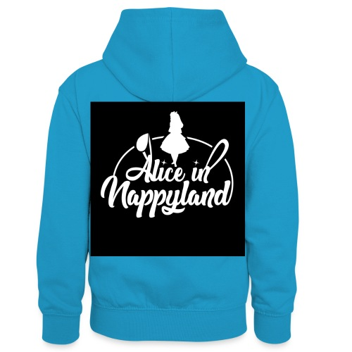 Alice in Nappyland TypographyWhite 1080 - Kids' Contrast Hoodie