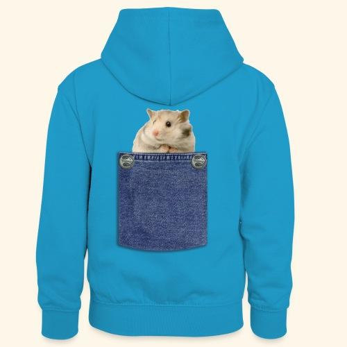 hamster in the poket - Felpa con cappuccio in contrasto cromatico per bambini