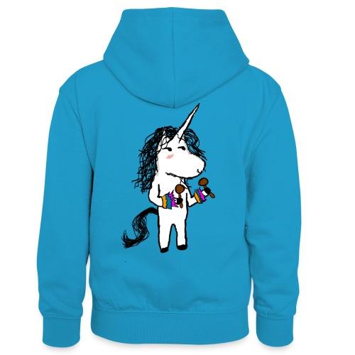 unicorno Dancer - Felpa con cappuccio in contrasto cromatico per bambini