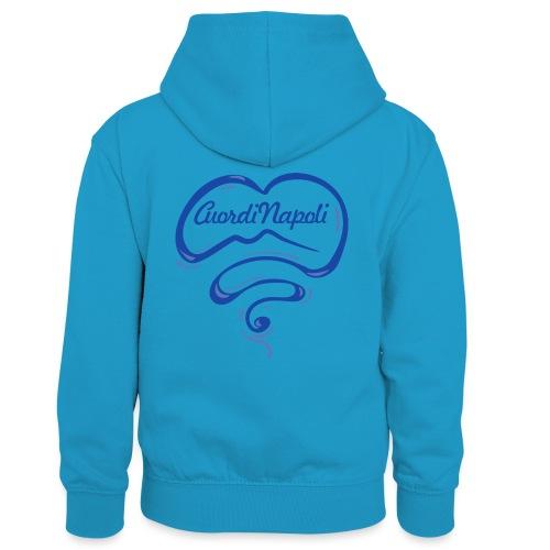 New Logo CuordiNapoli Blu - Felpa con cappuccio in contrasto cromatico per bambini