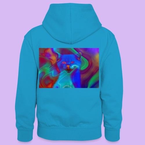 Gattino con effetti neon surreali - Felpa con cappuccio in contrasto cromatico per bambini