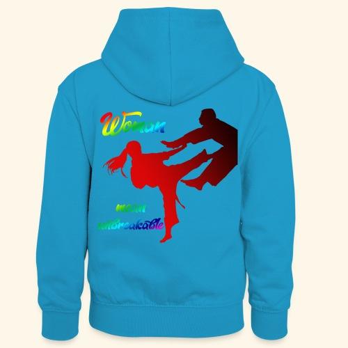 woman mean unbreakable - Felpa con cappuccio in contrasto cromatico per bambini