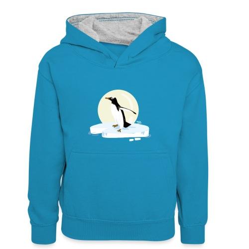Ijzige pinguïn - Sweat à capuche contrasté Enfant