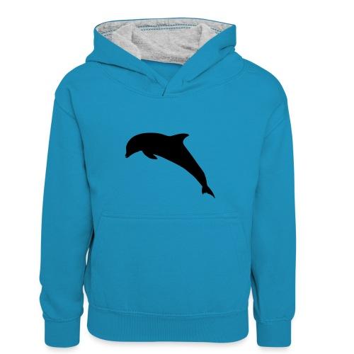 Delfin springend - Kinder Kontrast-Hoodie