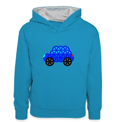 The Car Of Life - M01, Sacred Shapes, Blue/R01. - Kids' Contrast Hoodie