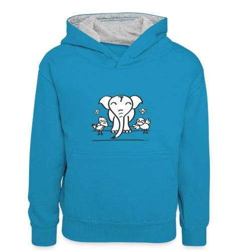 78 elephant - Kinder Kontrast-Hoodie