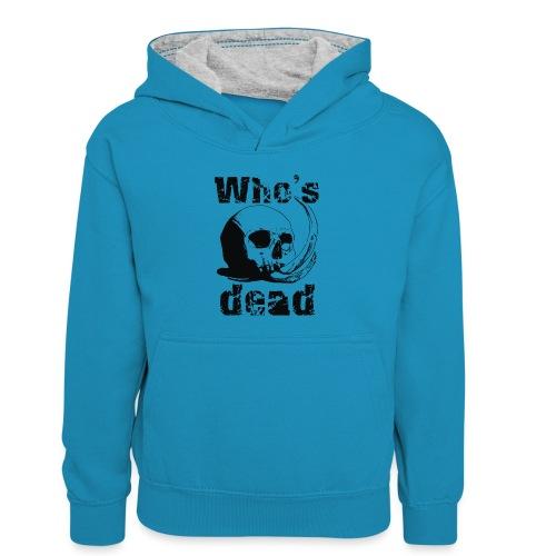 Who's dead - Black - Felpa con cappuccio in contrasto cromatico per bambini