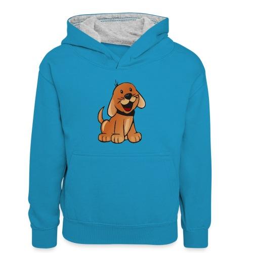 cartoon dog - Felpa con cappuccio in contrasto cromatico per bambini