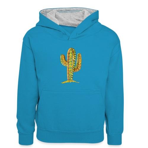 Le cactus - Sweat à capuche contrasté Enfant